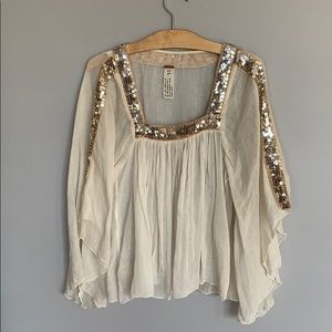 Free People Sheer Cotton Boho Top with Sequins - S